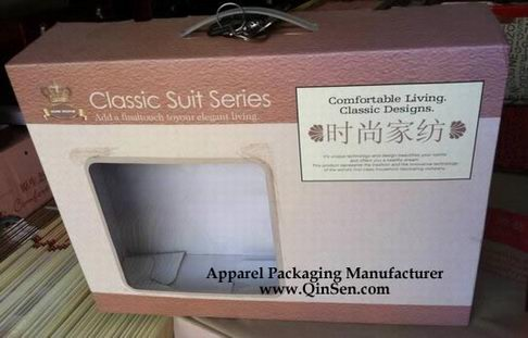Fashion Corrugated Packaging Box with window for Textile/Quilt/Blanket
