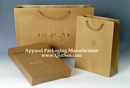 luxury branded clothing box with matching branded shopping bag