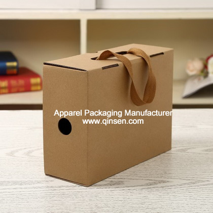Fancy customized kraft shoe packaging box with handle